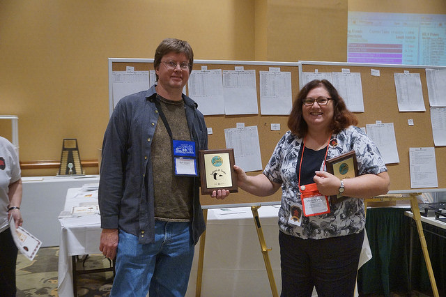 Tournament Director Marcy Morelli awards 2nd place to Rich Shipley